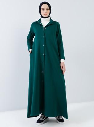 Green - Unlined - Crew neck -  - Topcoat - Benin