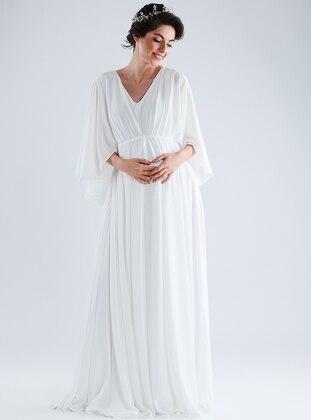 White - V neck Collar - Cotton - Maternity Dress