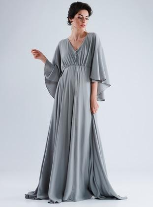 Gray - V neck Collar - Cotton - Maternity Dress - LYNMAMA