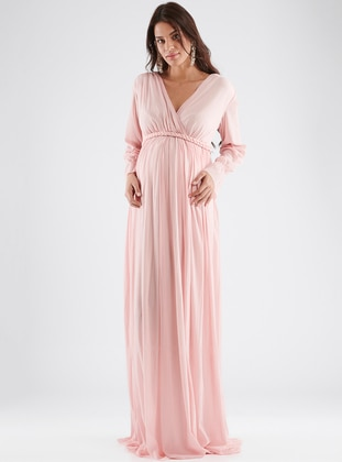Pink - V neck Collar - Fully Lined - Cotton - Maternity Dress - LYNMAMA