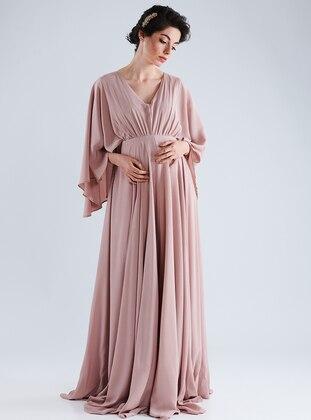 Pink - V neck Collar - Cotton - Maternity Dress