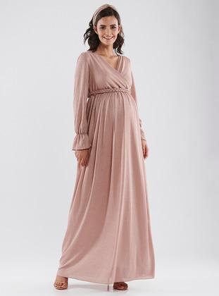 Pink - Crew neck - Cotton - Maternity Dress - LYNMAMA