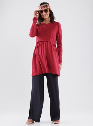 Maroon - Crew neck - Cotton - Maternity Tunic - LYNMAMA