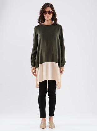 Powder - Khaki - Crew neck - Cotton - Maternity Tunic - LYNMAMA