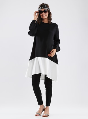 Black - White - Crew neck - Cotton - Maternity Tunic - LYNMAMA