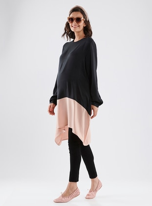 Black - Powder - Crew neck - Cotton - Maternity Tunic - LYNMAMA