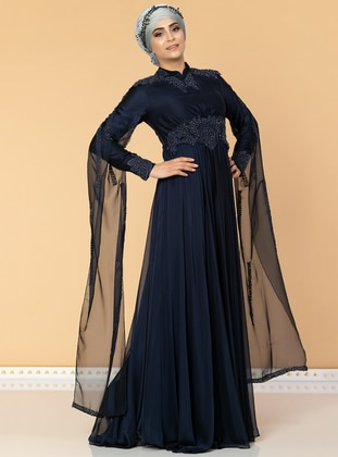 Navy Blue - Fully Lined - Crew neck - Cotton - Viscose - Muslim Evening Dress