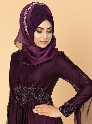 Purple - Fully Lined - Crew neck - Cotton - Viscose - Dress