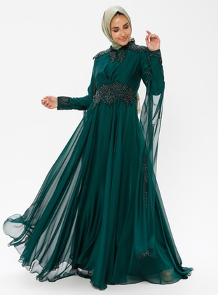 Emerald - Fully Lined - Crew neck - Cotton - Viscose - Muslim Evening Dress