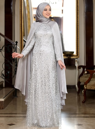 Gray - Silver tone - Fully Lined - Crew neck - Muslim Evening Dress