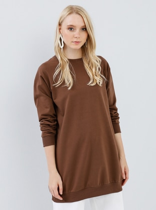Brown - Crew neck -  - Tunic