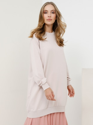 White - Pink - Crew neck -  - Tunic
