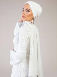 White - Ecru - Unlined - Crew neck - Muslim Evening Dress