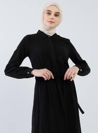 Siyah - Fransız yaka - Astarsız kumaş - Viskon - Elbise