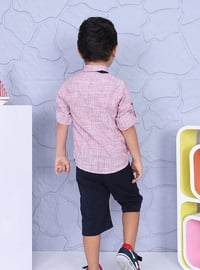 Point Collar - Cotton - Red - Boys` Suit