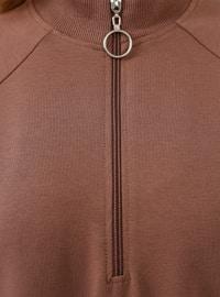 Brown - Polo neck - Cotton - Tunic