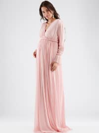 Pink - V neck Collar - Fully Lined - Cotton - Maternity Dress