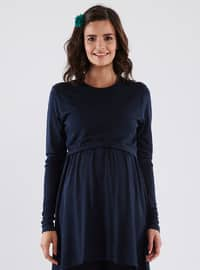 Navy Blue - Crew neck - Cotton - Maternity Tunic
