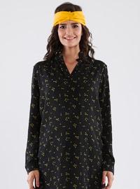 Black - V neck Collar - Multi - Cotton - Maternity Tunic
