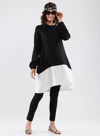 Black - White - Crew neck - Cotton - Maternity Tunic