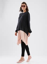 Black - Powder - Crew neck - Cotton - Maternity Tunic