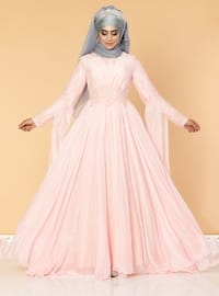 Pink - Fully Lined - Crew neck - Cotton - Viscose - Muslim Evening Dress