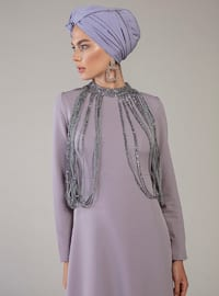 Gray - Lilac - Unlined - Polo neck - Muslim Evening Dress