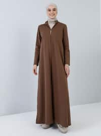 Kahverengi - Astarsız kumaş - Çin yakalı - Pamuk - Palto ve Kaban - Everyday Basic