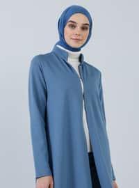 Mavi - Astarsız kumaş - Çin yakalı - Pamuk - Palto ve Kaban - Everyday Basic