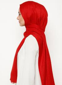 Red - Plain - Viscose - Shawl