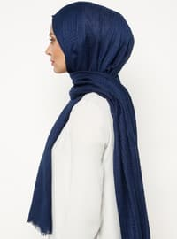 Navy Blue - Plain - Viscose - Shawl