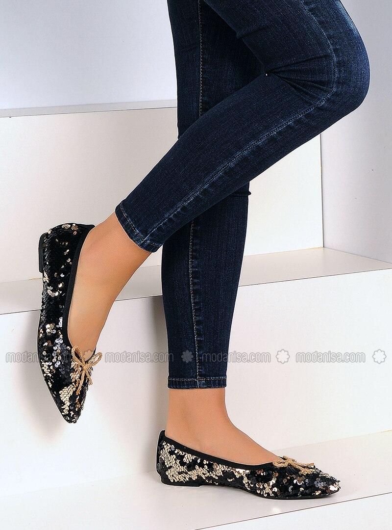 Black - Gold - Flat - Shoes