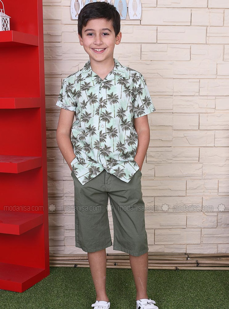 Multi - Polo - Cotton - Green - Boys` Shirt