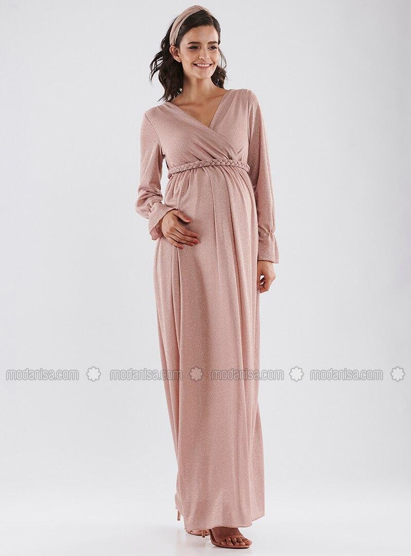 24ebc48b4da11 Pink - Crew neck - Cotton - Maternity Dress