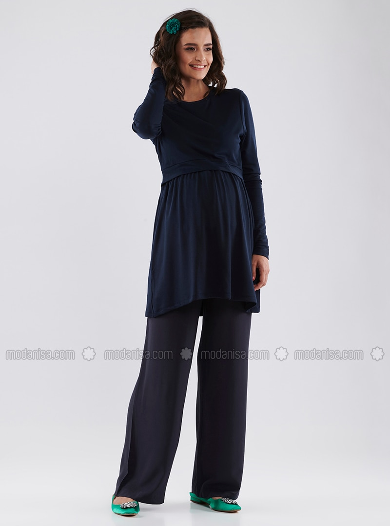 Navy Blue - Cotton - Viscose - Maternity Pants