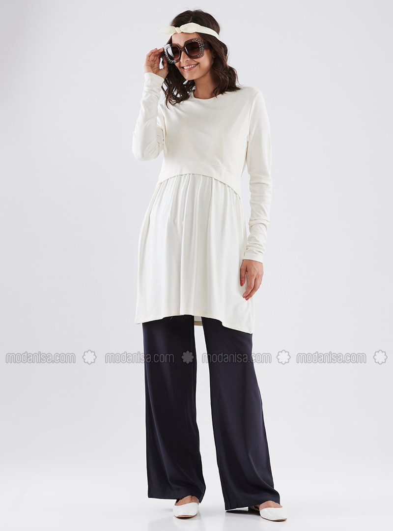 Ecru - Crew neck - Cotton - Maternity Tunic