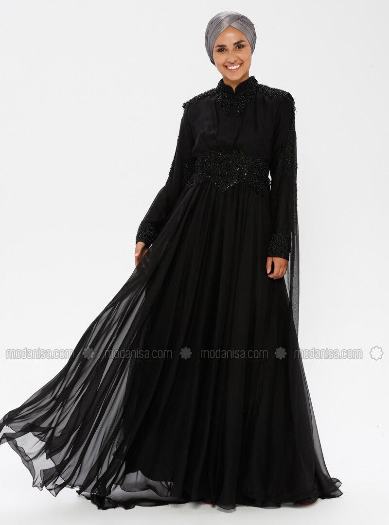 Black - Fully Lined - Crew neck - Cotton - Viscose - Muslim Evening Dress
