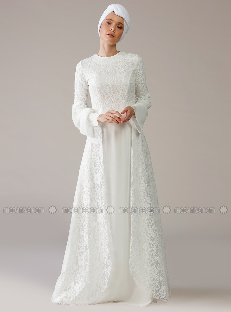 White - Ecru - Unlined - Crew neck - Muslim Evening Dress