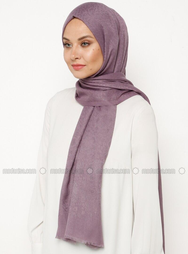 Lilac - Plain - Viscose - Shawl