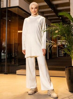 White - Ecru - Acrylic -  - Pants - Benin