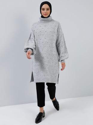 Gray - Polo neck - Acrylic - Wool Blend - Tunic