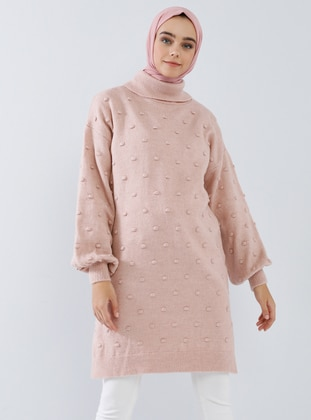 Pink - Polo neck - Acrylic - Wool Blend - Tunic