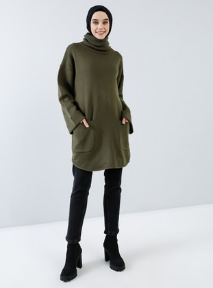Khaki - Polo neck - Acrylic -  - Tunic