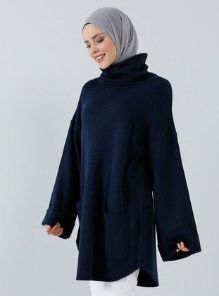 Navy Blue - Polo neck - Acrylic -  - Tunic