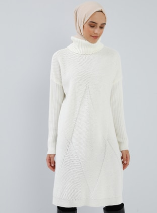 White - Ecru - Polo neck - Acrylic -  - Tunic