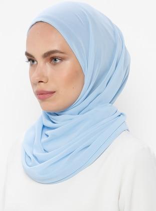 Blue - Plain - Viscose - Shawl