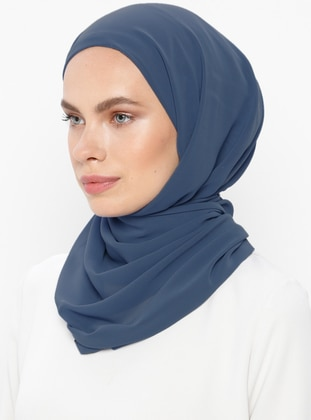 Blue - Indigo - Plain - Viscose - Shawl