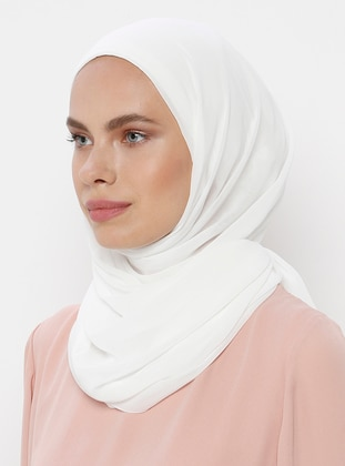 Cream - Plain - Viscose - Shawl