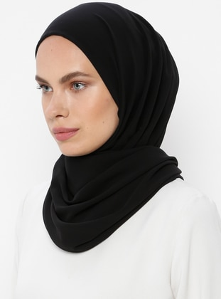 Black - Plain - Viscose - Shawl