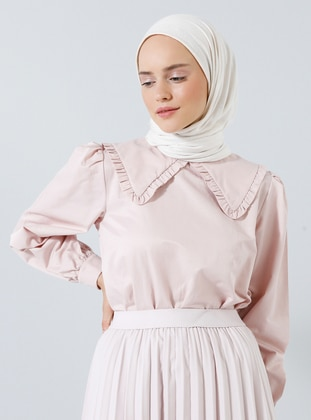 Pink - Powder - Point Collar -  - Blouses